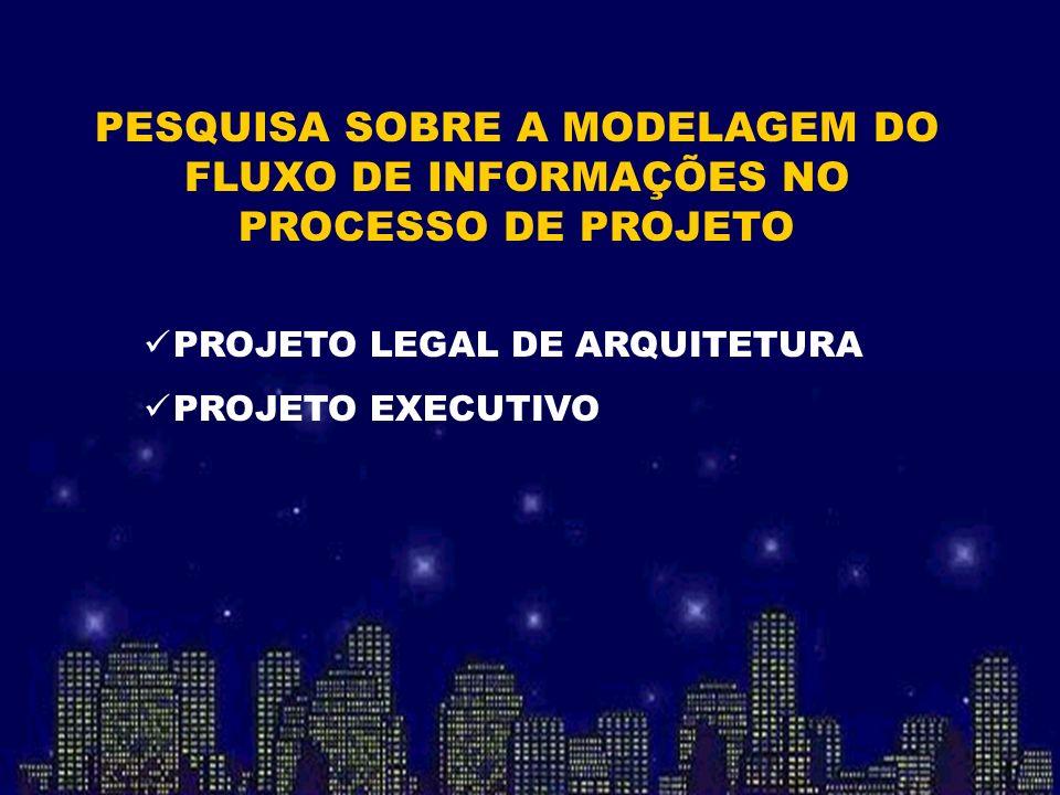 PESQUISA SOBRE A MODELAGEM DO FLUXO DE INFORMAÇÕES NO PROCESSO DE PROJETO PROJETO LEGAL DE ARQUITETURA PROJETO EXECUTIVO