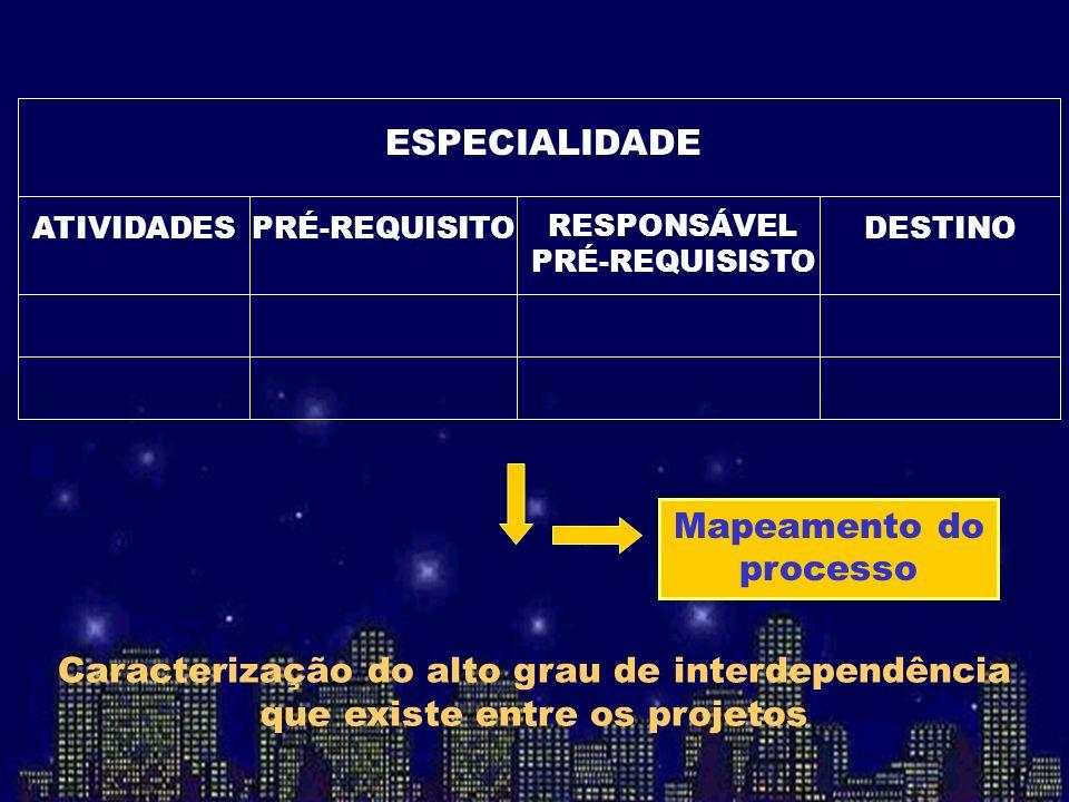 ESPECIALIDADE DESTINO RESPONSÁVEL PRÉ-REQUISISTO PRÉ-REQUISITOATIVIDADES Mapeamento do processo Caracterização do alto grau de interdependência que ex