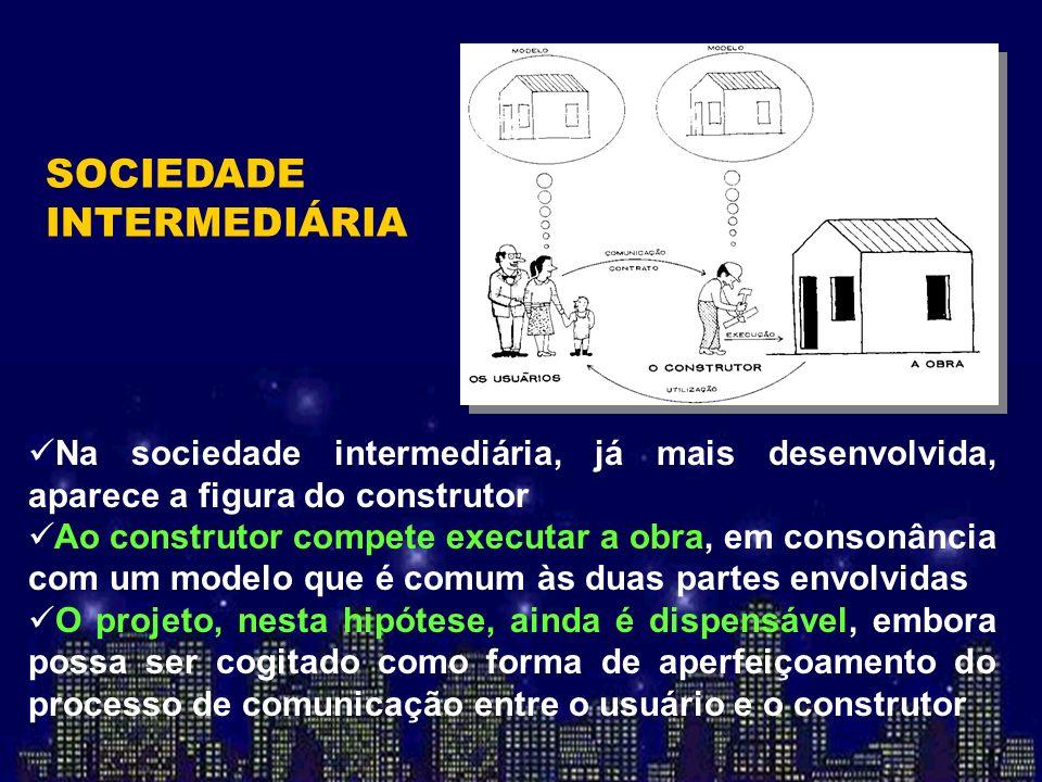 Na sociedade intermediária, já mais desenvolvida, aparece a figura do construtor Ao construtor compete executar a obra, em consonância com um modelo q