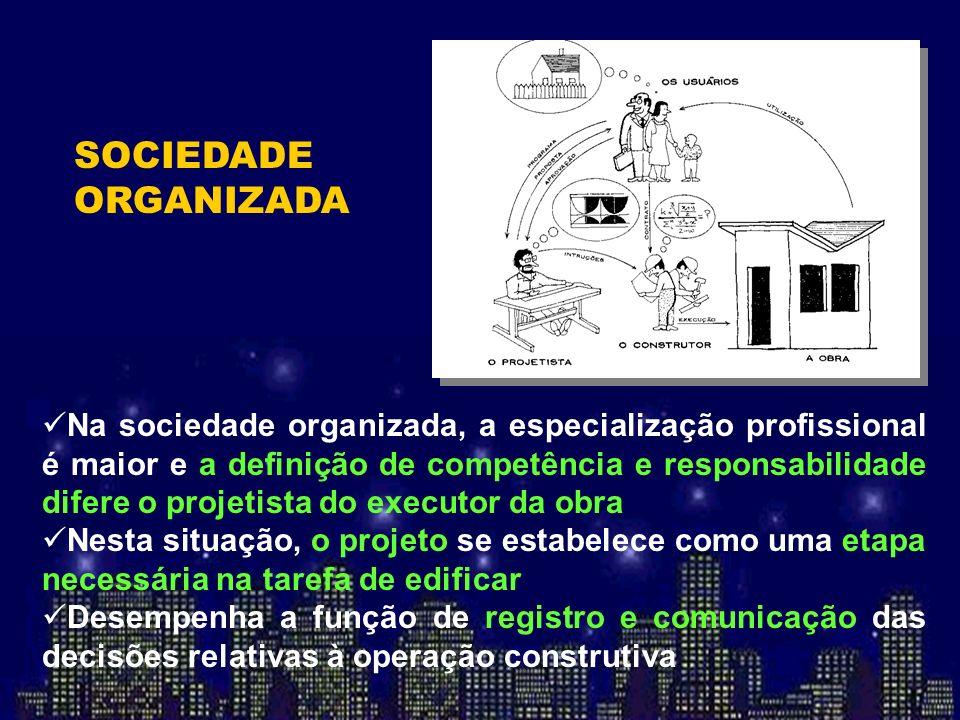 Na sociedade organizada, a especialização profissional é maior e a definição de competência e responsabilidade difere o projetista do executor da obra