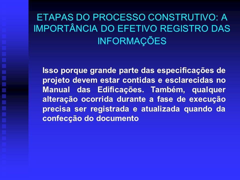 ETAPAS DO PROCESSO CONSTRUTIVO: A IMPORTÂNCIA DO EFETIVO REGISTRO DAS INFORMAÇÕES Isso porque grande parte das especificações de projeto devem estar contidas e esclarecidas no Manual das Edificações.