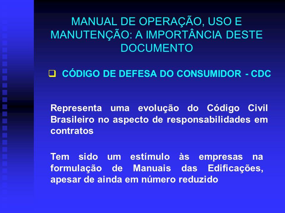 MANUAL DE OPERAÇÃO, USO E MANUTENÇÃO: A IMPORTÂNCIA DESTE DOCUMENTO Representa uma evolução do Código Civil Brasileiro no aspecto de responsabilidades