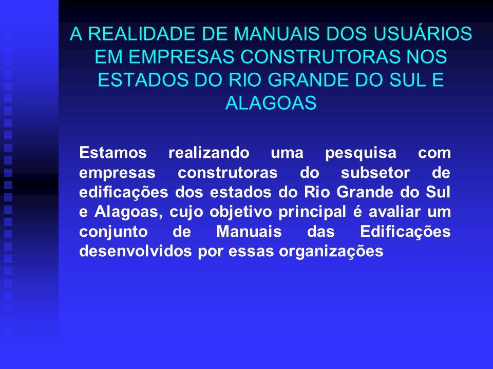 A REALIDADE DE MANUAIS DOS USUÁRIOS EM EMPRESAS CONSTRUTORAS NOS ESTADOS DO RIO GRANDE DO SUL E ALAGOAS Estamos realizando uma pesquisa com empresas c