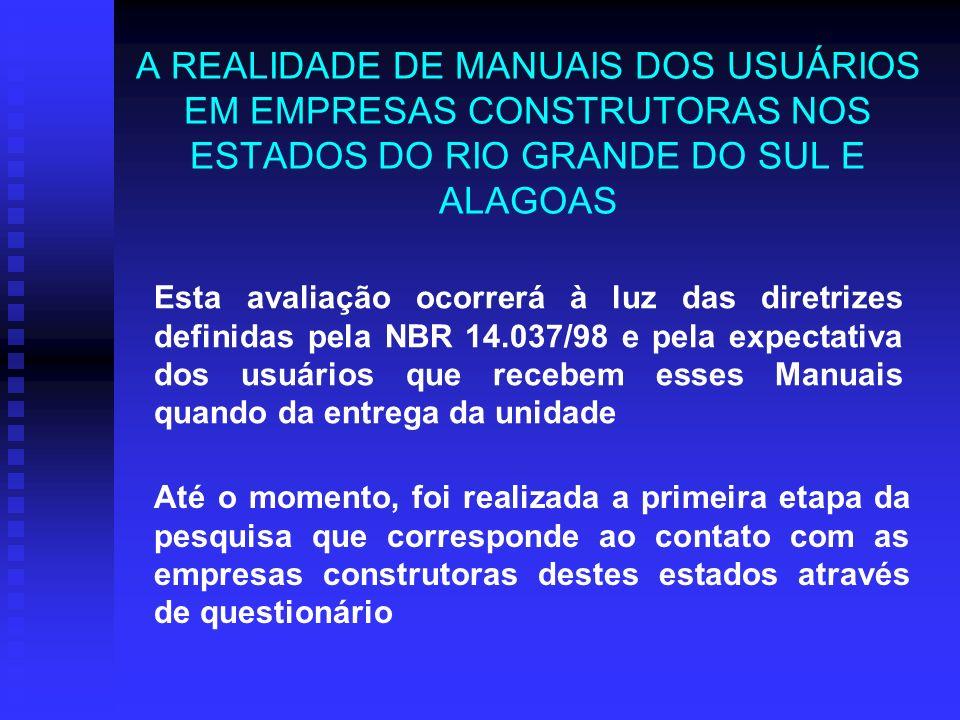 A REALIDADE DE MANUAIS DOS USUÁRIOS EM EMPRESAS CONSTRUTORAS NOS ESTADOS DO RIO GRANDE DO SUL E ALAGOAS Esta avaliação ocorrerá à luz das diretrizes d