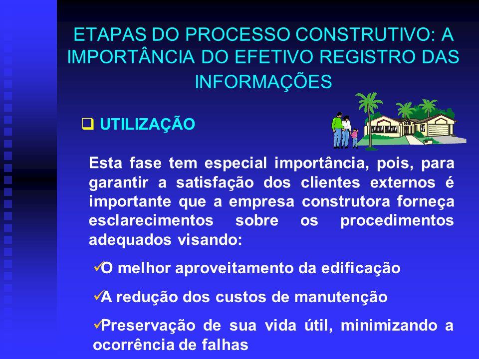 ETAPAS DO PROCESSO CONSTRUTIVO: A IMPORTÂNCIA DO EFETIVO REGISTRO DAS INFORMAÇÕES UTILIZAÇÃO Esta fase tem especial importância, pois, para garantir a