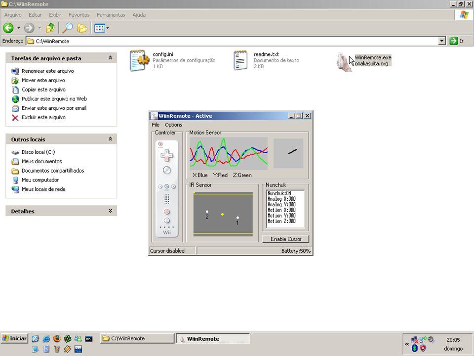 No Linux o mouse é simulado apontando o Wiimote onde você deseja que o cursor vá, se pressiona A para executar o clique do botão esquerdo e B para executar o clique do botão direito.