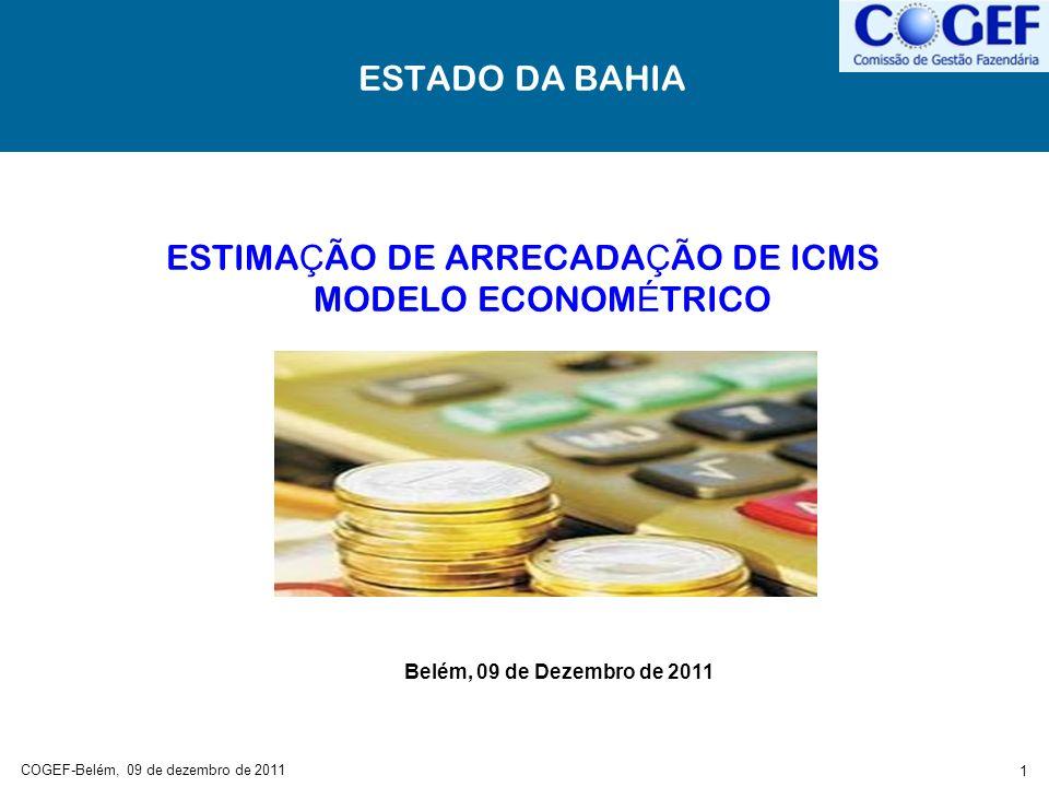 COGEF-Belém, 09 de dezembro de 2011 2 OBJETIVO Oferecer uma estimativa de arrecadação de ICMS anual e mensal, com antecedência de 12, 24, 36...
