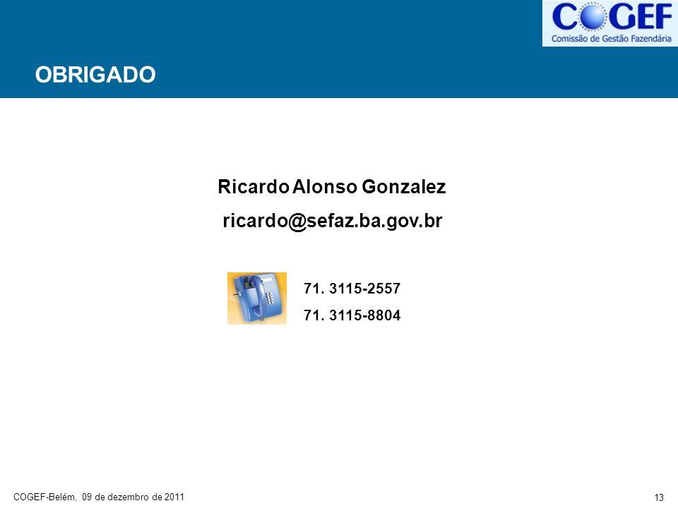 COGEF-Belém, 09 de dezembro de 2011 13 OBRIGADO Ricardo Alonso Gonzalez ricardo@sefaz.ba.gov.br 71. 3115-2557 71. 3115-8804