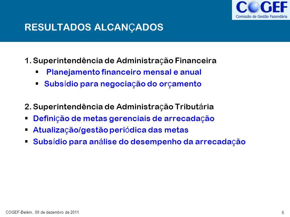 COGEF-Belém, 09 de dezembro de 2011 6 RESULTADOS ALCAN Ç ADOS 1.Superintendência de Administra ç ão Financeira Planejamento financeiro mensal e anual