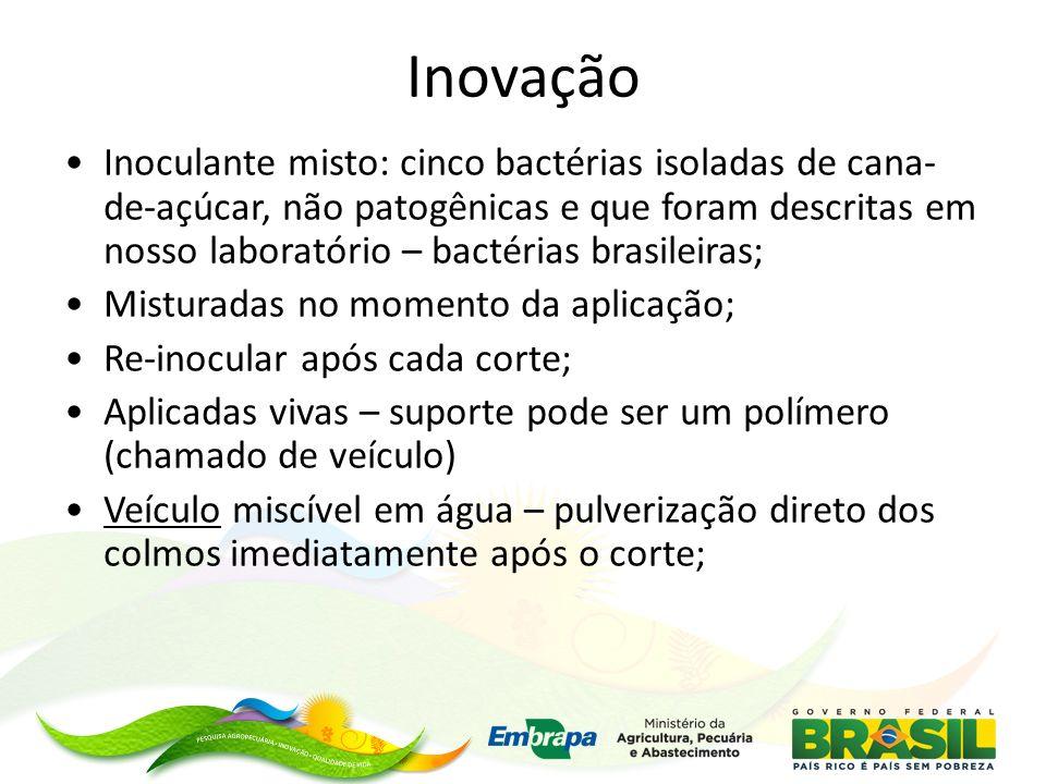 Inovação Inoculante misto: cinco bactérias isoladas de cana- de-açúcar, não patogênicas e que foram descritas em nosso laboratório – bactérias brasileiras; Misturadas no momento da aplicação; Re-inocular após cada corte; Aplicadas vivas – suporte pode ser um polímero (chamado de veículo) Veículo miscível em água – pulverização direto dos colmos imediatamente após o corte;