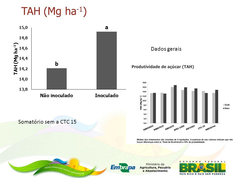 TAH (Mg ha -1 ) Dados gerais Somatório sem a CTC 15