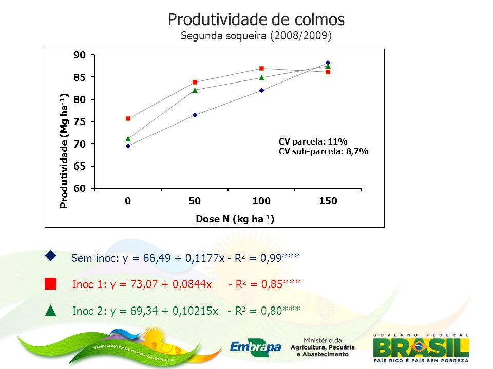 Sem inoc: y = 66,49 + 0,1177x - R 2 = 0,99*** Inoc 1: y = 73,07 + 0,0844x - R 2 = 0,85*** Inoc 2: y = 69,34 + 0,10215x - R 2 = 0,80*** Produtividade de colmos Segunda soqueira (2008/2009) CV parcela: 11% CV sub-parcela: 8,7%