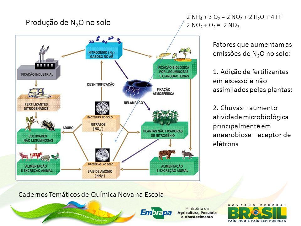 Cadernos Temáticos de Química Nova na Escola 2 NH 4 + 3 O 2 = 2 NO 2 + 2 H 2 O + 4 H + 2 NO 2 + O 2 = 2 NO 3 Produção de N 2 O no solo Fatores que aumentam as emissões de N 2 O no solo: 1.
