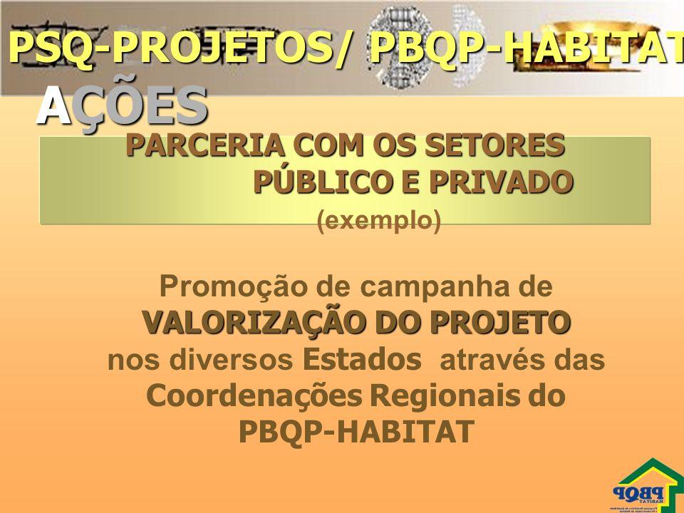 PSQ-PROJETOS/ PBQP-HABITAT AÇÕES PARCERIA COM OS SETORES PÚBLICO E PRIVADO PÚBLICO E PRIVADO (exemplo) Promoção de campanha de VALORIZAÇÃO DO PROJETO