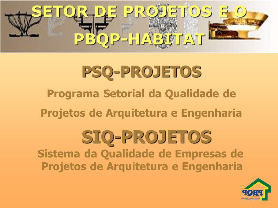 SETOR DE PROJETOS E O PBQP-HABITATPSQ-PROJETOS Programa Setorial da Qualidade de Projetos de Arquitetura e Engenharia SIQ-PROJETOS SIQ-PROJETOS Sistem