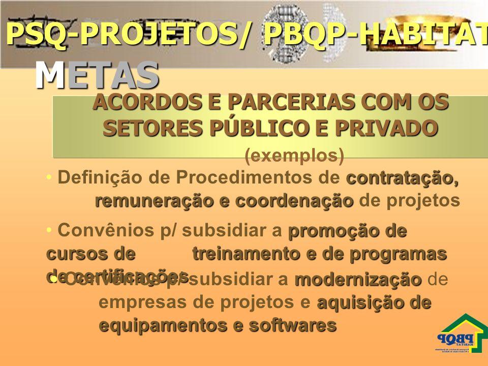 PSQ-PROJETOS/ PBQP-HABITAT METAS promoção de cursos de treinamento e de programas de certificações Convênios p/ subsidiar a promoção de cursos de trei