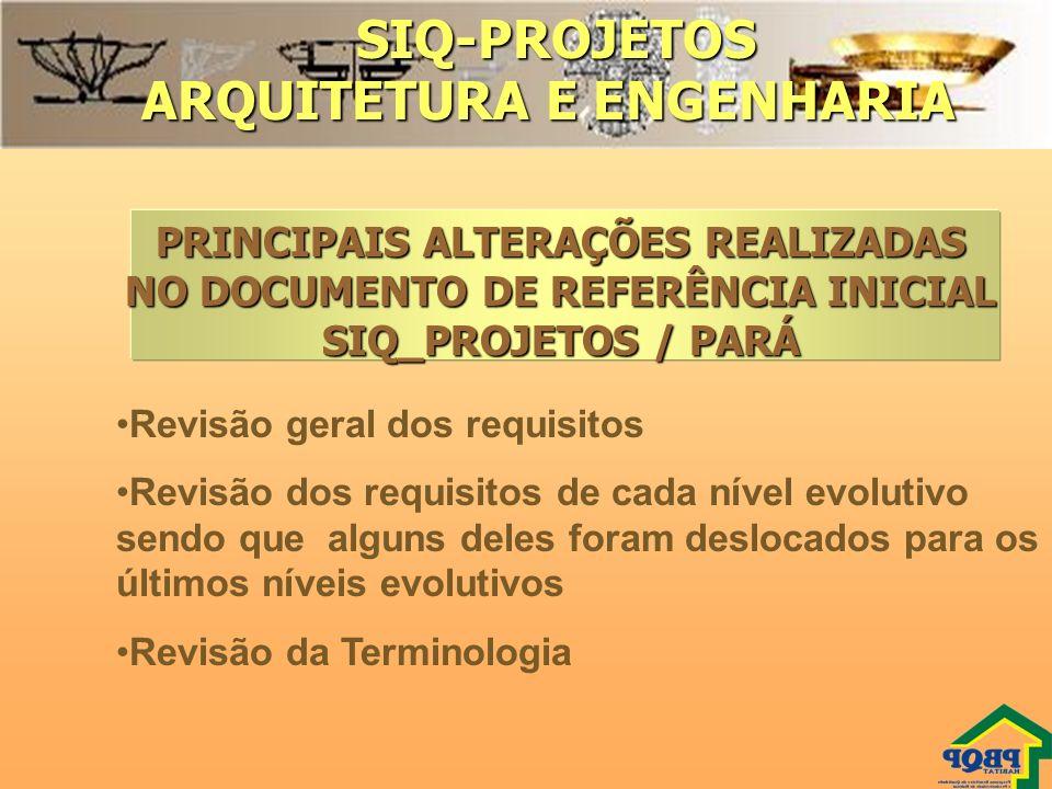 SIQ-PROJETOS SIQ-PROJETOS ARQUITETURA E ENGENHARIA Revisão geral dos requisitos Revisão dos requisitos de cada nível evolutivo sendo que alguns deles