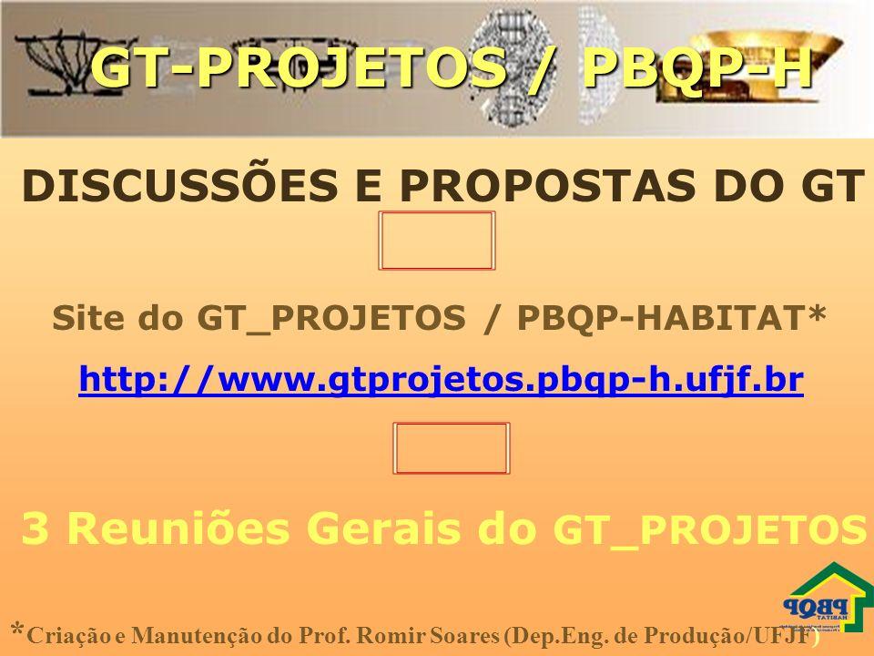 GT-PROJETOS / PBQP-H DISCUSSÕES E PROPOSTAS DO GT Site do GT_PROJETOS / PBQP-HABITAT* http://www.gtprojetos.pbqp-h.ufjf.br * Criação e Manutenção do P