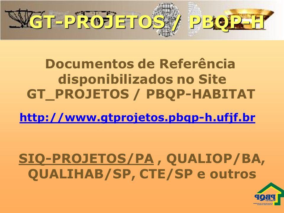GT-PROJETOS / PBQP-H Documentos de Referência disponibilizados no Site GT_PROJETOS / PBQP-HABITAT SIQ-PROJETOS/PA, QUALIOP/BA, QUALIHAB/SP, CTE/SP e o