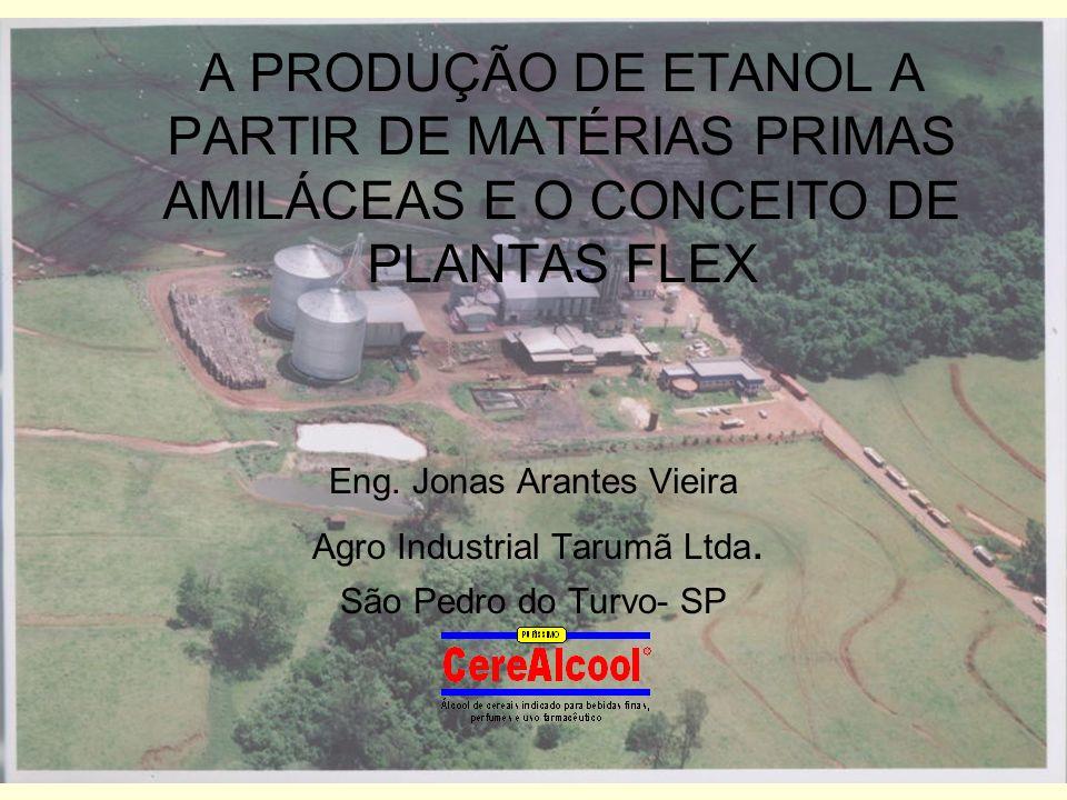 A PRODUÇÃO DE ETANOL A PARTIR DE MATÉRIAS PRIMAS AMILÁCEAS E O CONCEITO DE PLANTAS FLEX Eng. Jonas Arantes Vieira Agro Industrial Tarumã Ltda. São Ped