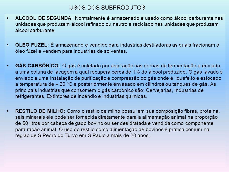 USOS DOS SUBPRODUTOS ALCOOL DE SEGUNDA: Normalmente é armazenado e usado como álcool carburante nas unidades que produzem álcool refinado ou neutro e