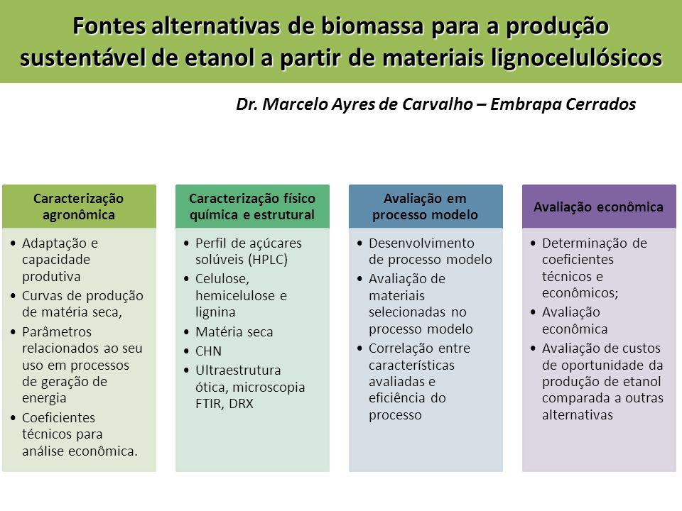 Caracterização agronômica Adaptação e capacidade produtiva Curvas de produção de matéria seca, Parâmetros relacionados ao seu uso em processos de gera