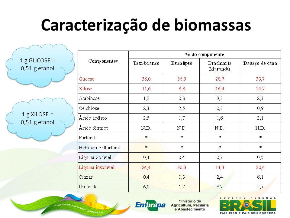 1 g GLICOSE = 0,51 g etanol 1 g XILOSE = 0,51 g etanol Caracterização de biomassas