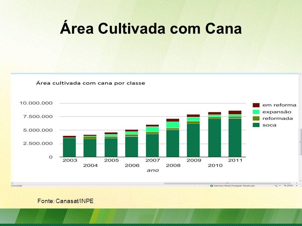 Expansão da do Cultivo da Cana-de- Açúcar 2003 a 2011 Centro-Sul Fonte: Canasat/INPE