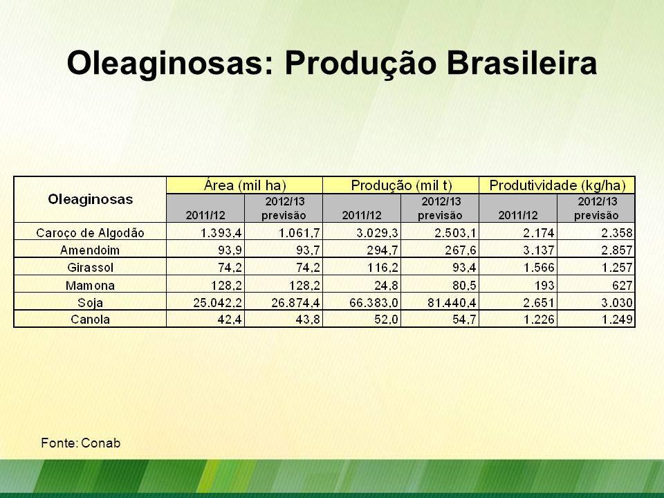 Oleaginosas: Produção Mundial Produção mundial das principais oleaginosas em milhões de toneladas Fonte: USDA