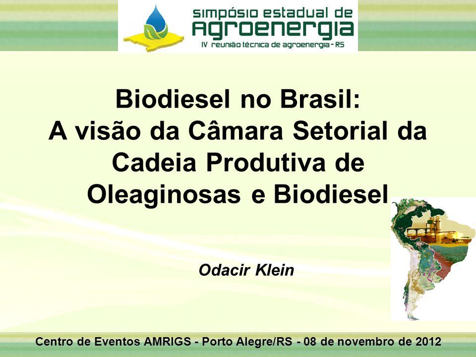 Centro de Eventos AMRIGS - Porto Alegre/RS - 08 de novembro de 2012 Odacir Klein Biodiesel no Brasil: A visão da Câmara Setorial da Cadeia Produtiva d