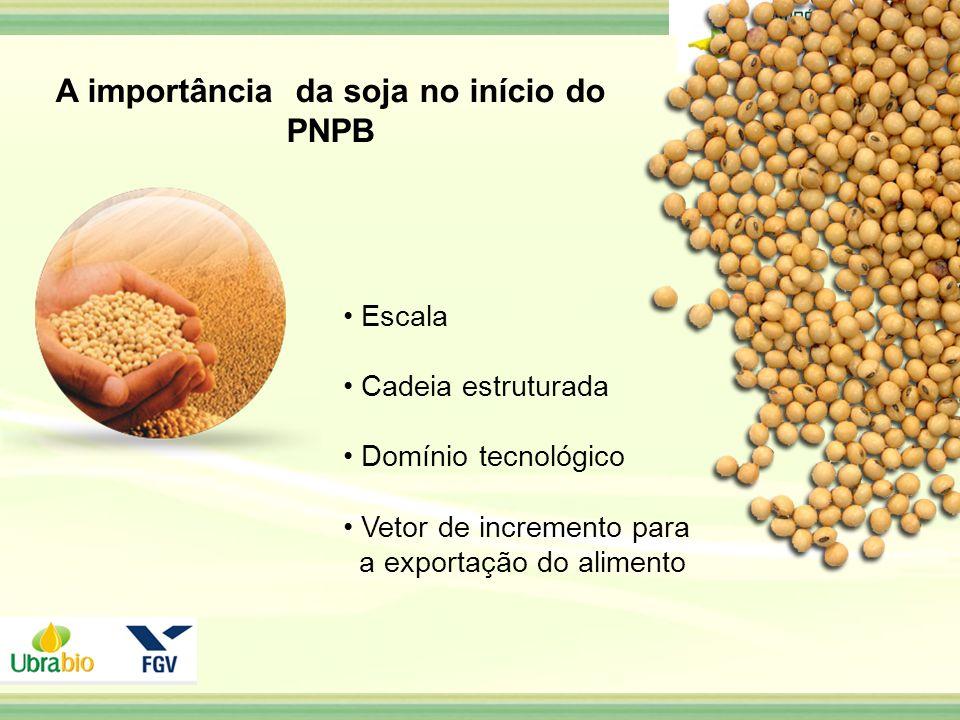 Escala Cadeia estruturada Domínio tecnológico Vetor de incremento para a exportação do alimento A importância da soja no início do PNPB