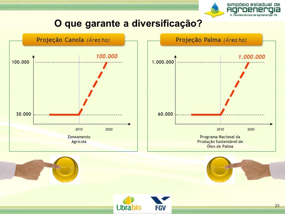 O que garante a diversificação? 25 Projeção Canola (Área ha) 100.000 2010 Zoneamento Agrícola 100.000 2020 30.000 Programa Nacional da Produção Susten