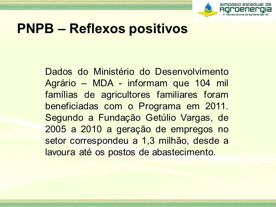 Dados do Ministério do Desenvolvimento Agrário – MDA - informam que 104 mil famílias de agricultores familiares foram beneficiadas com o Programa em 2