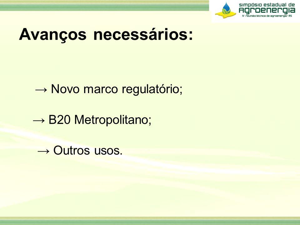 Avanços necessários: Novo marco regulatório; Outros usos. B20 Metropolitano;