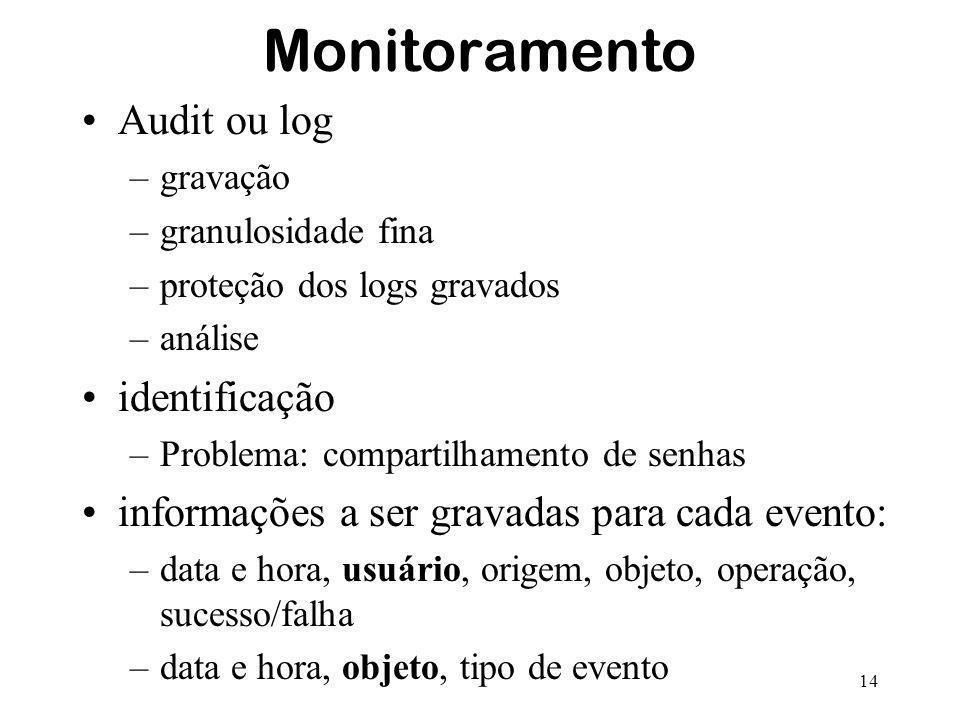 14 Monitoramento Audit ou log –gravação –granulosidade fina –proteção dos logs gravados –análise identificação –Problema: compartilhamento de senhas i