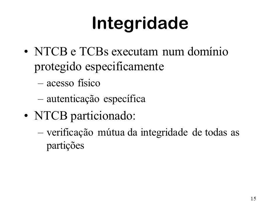 15 Integridade NTCB e TCBs executam num domínio protegido especificamente –acesso físico –autenticação específica NTCB particionado: –verificação mútu