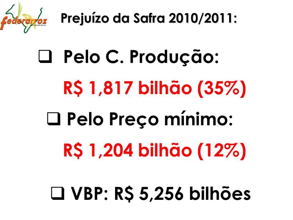 Pelo C. Produção: R$ 1,817 bilhão (35%) Pelo Preço mínimo: R$ 1,204 bilhão (12%) Prejuízo da Safra 2010/2011: VBP: R$ 5,256 bilhões