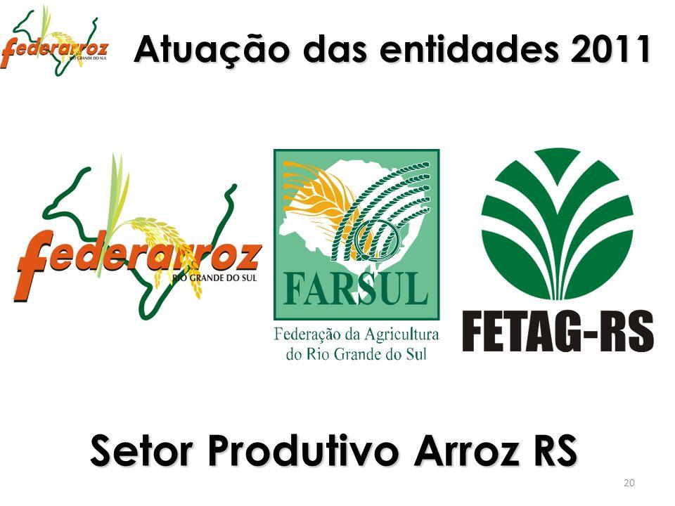 Atuação das entidades 2011 20 Setor Produtivo Arroz RS