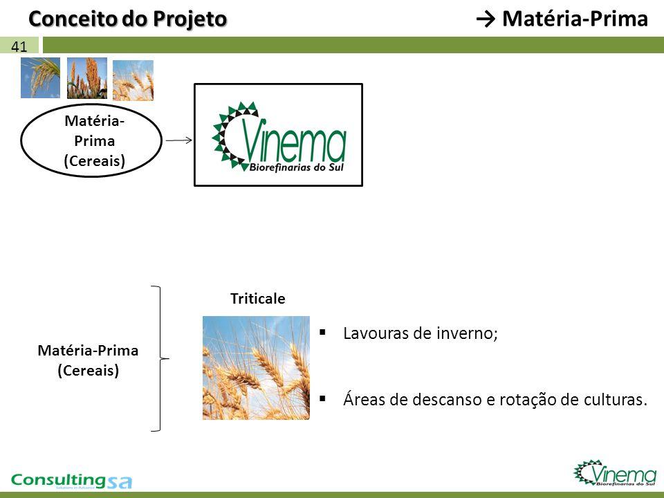 41 Matéria- Prima (Cereais) Matéria-Prima (Cereais) Triticale Lavouras de inverno; Áreas de descanso e rotação de culturas. Conceito do Projeto Concei