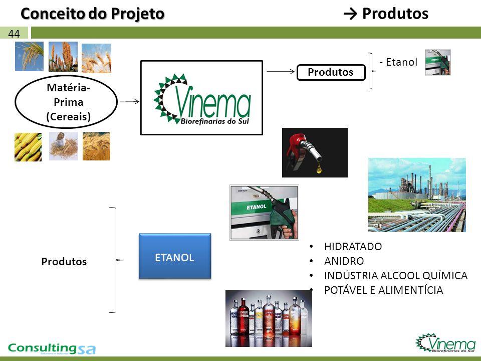 HIDRATADO ANIDRO INDÚSTRIA ALCOOL QUÍMICA POTÁVEL E ALIMENTÍCIA 44 Matéria- Prima (Cereais) Produtos - Etanol Produtos ETANOL Conceito do Projeto Prod