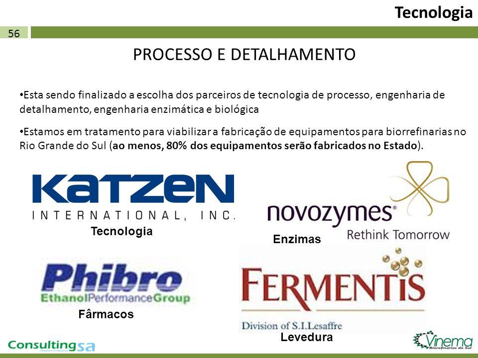 56 Tecnologia PROCESSO E DETALHAMENTO Esta sendo finalizado a escolha dos parceiros de tecnologia de processo, engenharia de detalhamento, engenharia