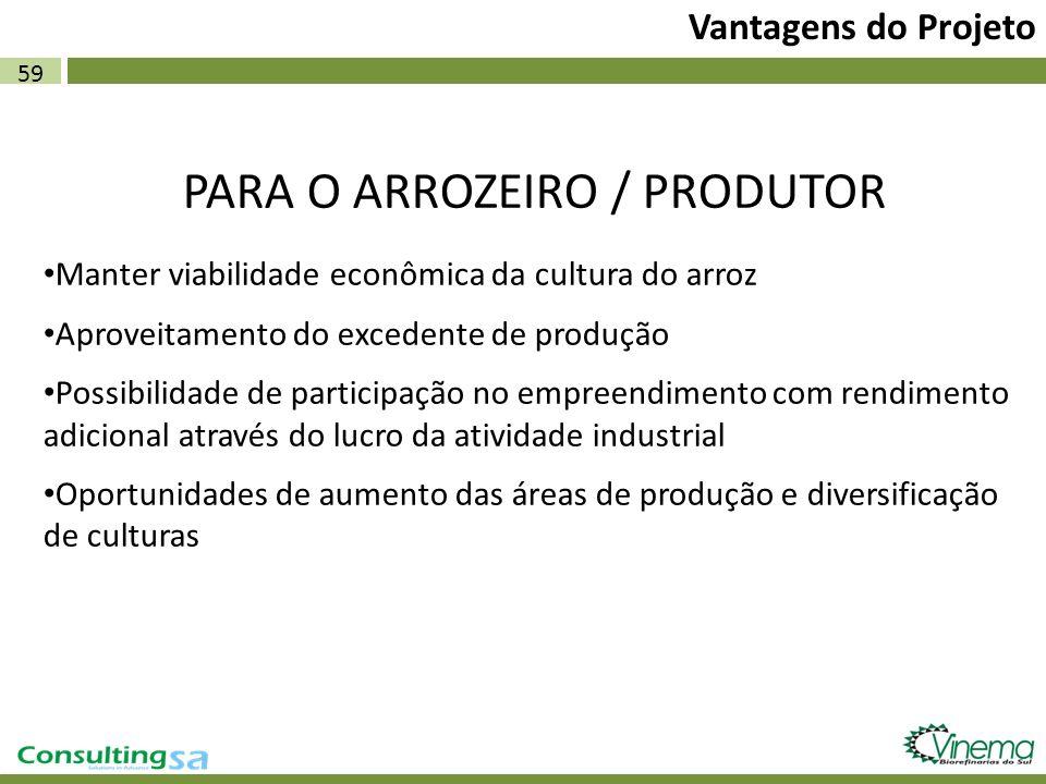 59 Vantagens do Projeto PARA O ARROZEIRO / PRODUTOR Manter viabilidade econômica da cultura do arroz Aproveitamento do excedente de produção Possibili