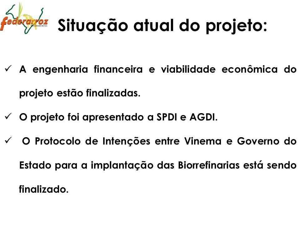 A engenharia financeira e viabilidade econômica do projeto estão finalizadas. O projeto foi apresentado a SPDI e AGDI. O Protocolo de Intenções entre