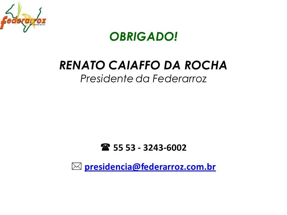 OBRIGADO! RENATO CAIAFFO DA ROCHA Presidente da Federarroz 55 53 - 3243-6002 presidencia@federarroz.com.br