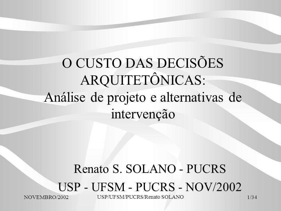 NOVEMBRO/2002 USP/UFSM/PUCRS/Renato SOLANO 22/34 Área mínima das cozinhas Tipo de cozinha Área mínima desejável (m 2 ) Área do projeto analisado (m 2 ) comentários Cozinha estrita5,20-- Cozinha completa6,80-- Cozinha c/lugar para refeições 9,00-- Cozinha com lavanderia conjugada 10,009,27adequado