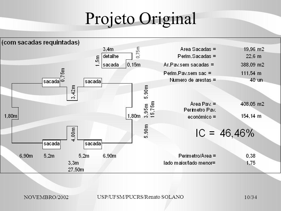 NOVEMBRO/2002 USP/UFSM/PUCRS/Renato SOLANO 10/34 Projeto Original
