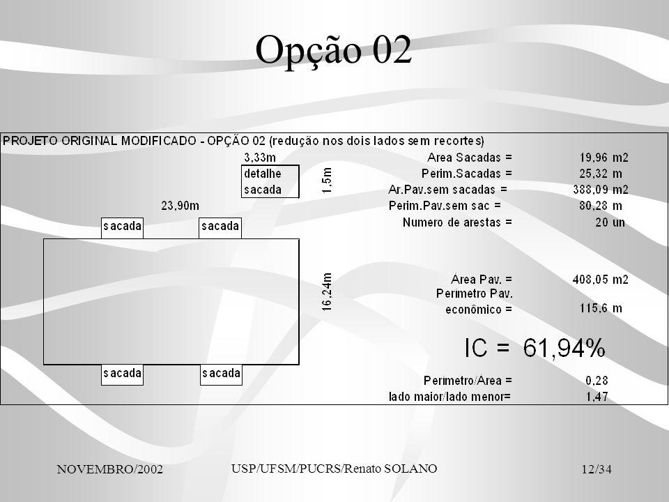 NOVEMBRO/2002 USP/UFSM/PUCRS/Renato SOLANO 12/34 Opção 02