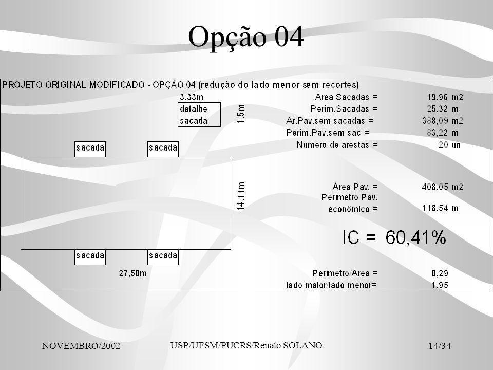 NOVEMBRO/2002 USP/UFSM/PUCRS/Renato SOLANO 14/34 Opção 04