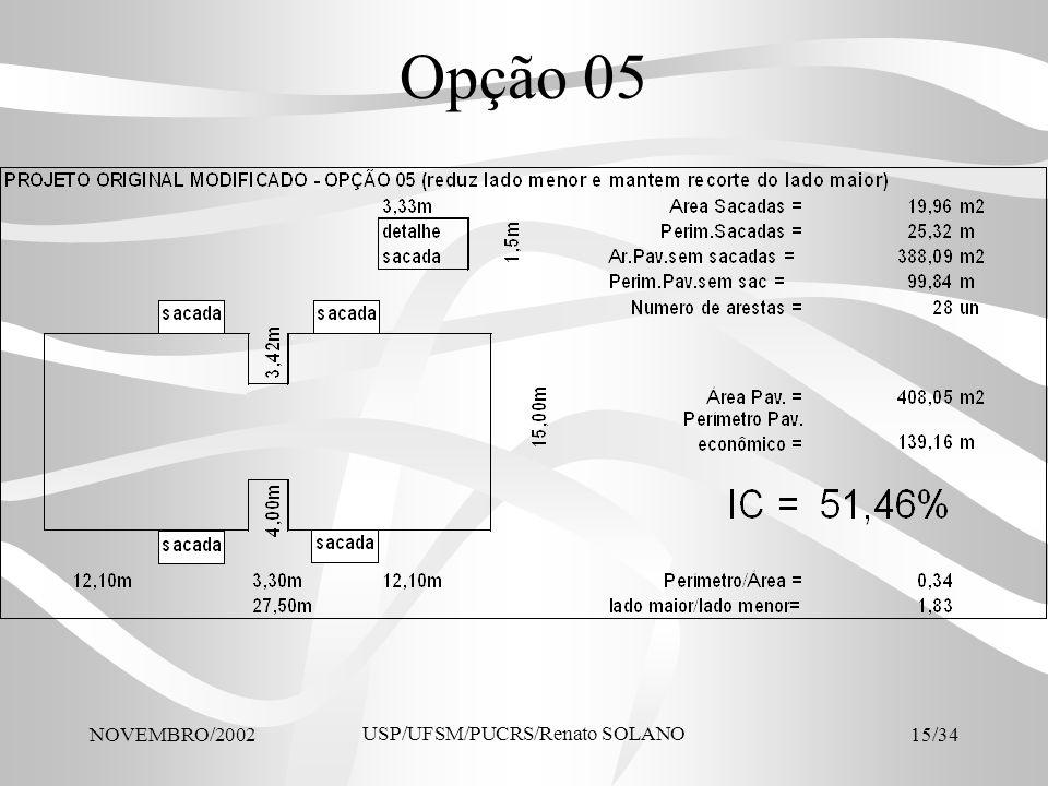 NOVEMBRO/2002 USP/UFSM/PUCRS/Renato SOLANO 15/34 Opção 05