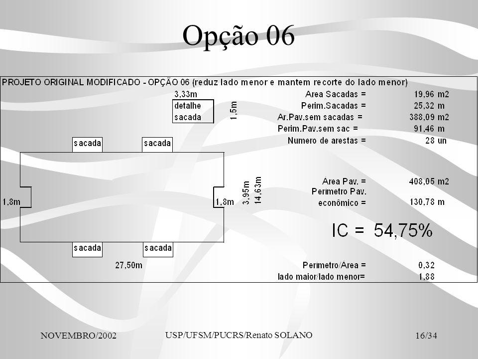 NOVEMBRO/2002 USP/UFSM/PUCRS/Renato SOLANO 16/34 Opção 06